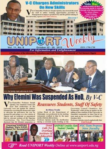 Vol. 11 No. 6 October 22 - University of Port Harcourt