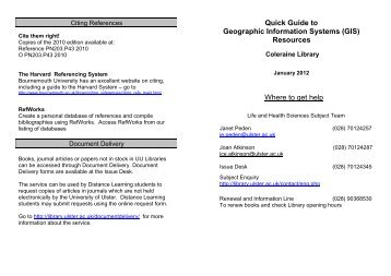 Geographic Information Systems - University of Ulster Library