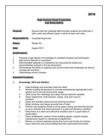 Jd719D Head Custodian Job Description - Derby Public Schools