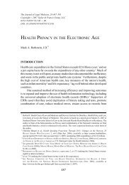HEALTH PRIVACY IN THE ELECTRONIC AGE