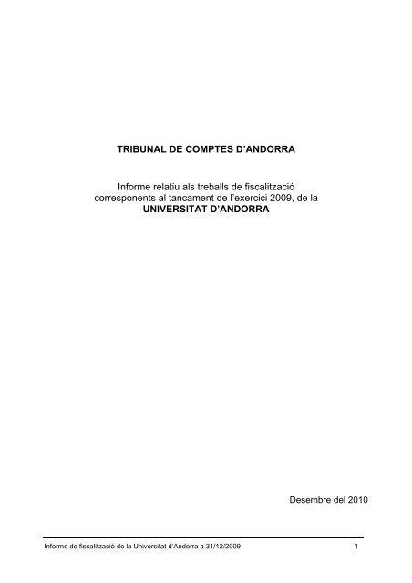 Universitat d'Andorra - Tribunal de Comptes