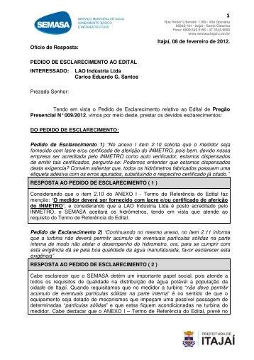 Resposta ao pedido de esclarecimentos da empresa - SEMASA
