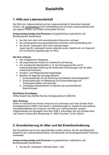 Sozialhilfe 1. Hilfe zum Lebensunterhalt - Verbandsgemeinde Cochem