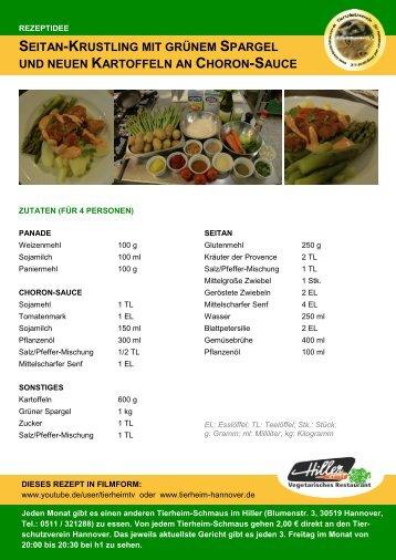 seitan-krustling mit grünem spargel und neuen kartoffeln an choron ...