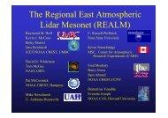The Regional East Atmospheric Lidar Mesonet (REALM) - AeroCom