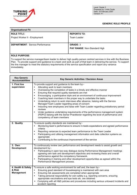 Generic Role Profile - Project Worker - Service Performance