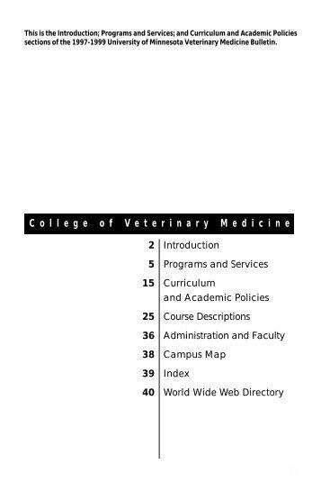 C o l l e g e o f V e t e r i n a r y M e d i c i n e - University Catalogs