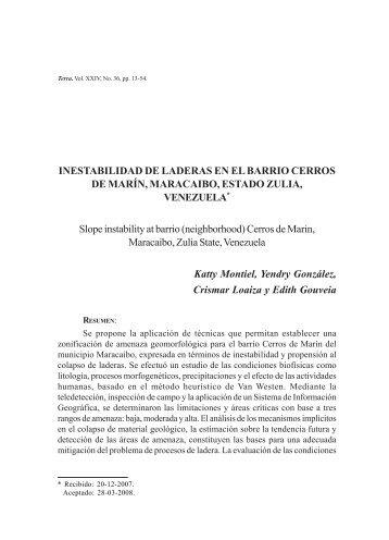 INESTABILIDAD DE LADERAS EN EL BARRIO ... - Saber UCV