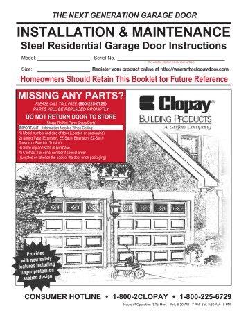 Door installation clopay garage door installation - Garage door installation instructions ...