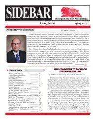 Sidebar Newsletter - Spring 2012 Issue - Montgomery Bar Association