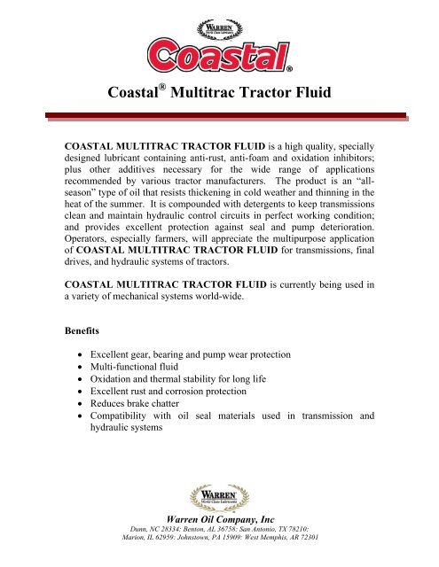 PDS - Coastal Multitrac Tractor Fluid pdf - Warren Oil Company, Inc