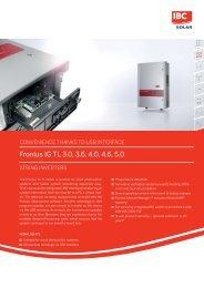 Fronius IG TL 3.0, 3.6, 4.0, 4.6, 5.0 - IBC Solar