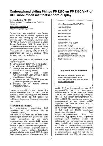 Ombouwhandleiding Philips FM1200 en FM1300 VHF of UHF ...