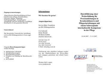 Durchführung einer Weiterbildung für Praxisanleitungen ... - Transkom
