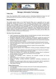Manager, Information Technology - Yukon Zinc Corporation