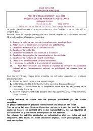 Projet d'établissement - Enseignement de la ville de Liège