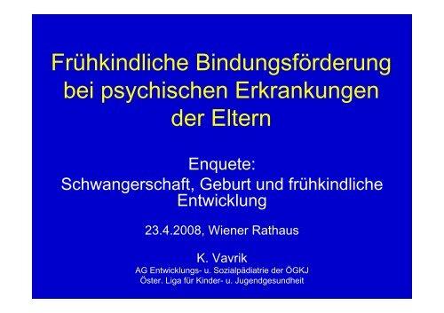 Frühkindliche Bindungsförderung bei psychischen Erkrankungen ...