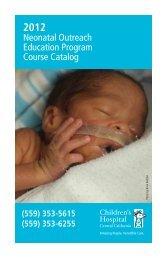 Neonatal Outreach Education Program Course Catalog - Children's ...