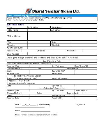 Video Conferencing Application Form Please fill in the ... - BSNL