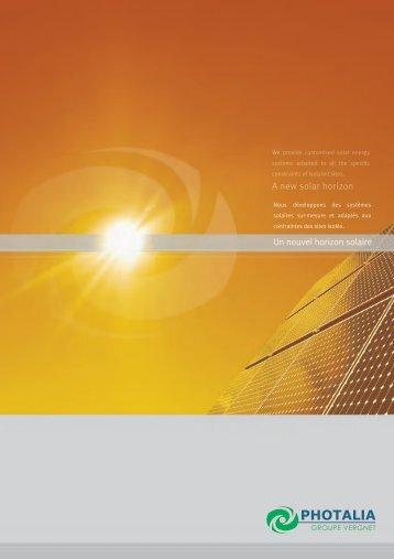 Un nouvel horizon solaire A new solar horizon - Vergnet