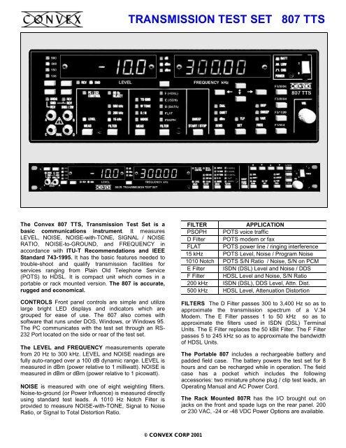 TRANSMISSION TEST SET 807 TTS - Convex Corporation