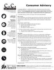 Consumer Advisory - Washington State Department of Health