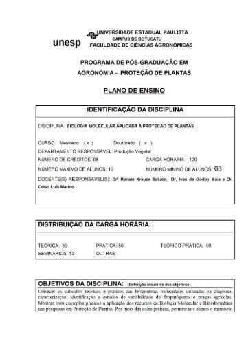 Biologia Molecular Aplicada a Proteção de Plantas - Faculdade de ...