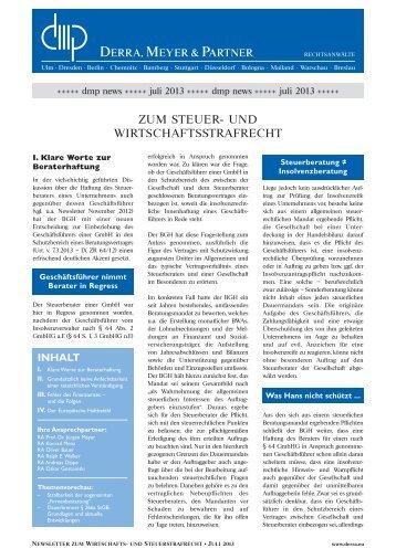 dmp Newsletter 07/2013 - Derra, Meyer & Partner