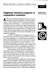 Plagiarism detection programs - The College of Education