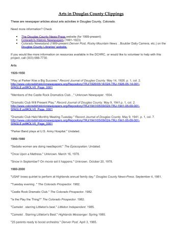 Arts Clippings Notebook Index - Douglas County History Research ...