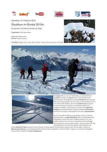 Stockhorn im Binntal 2610m - SAC Sektion Saas