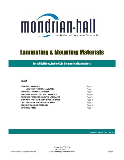 Lamination Price List Version 17 0 Unisource