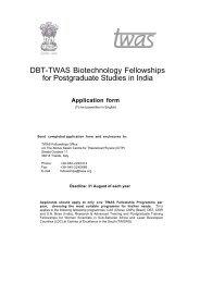 DBT-TWAS Biotechnology Fellowships for Postgraduate Studies in ...