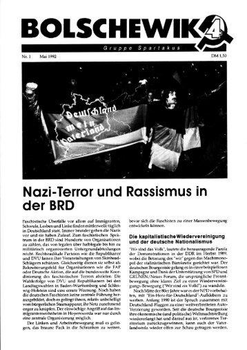 Nazi-Terror und Rassismus in der BRD. In: Bolschewik 1 (1992), S. 1-7