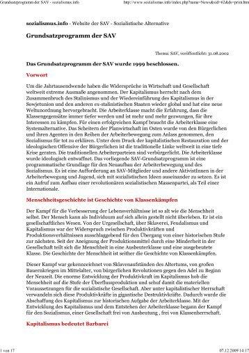 SAV: Grundsatzprogramm (1999) - International Bolshevik Tendency