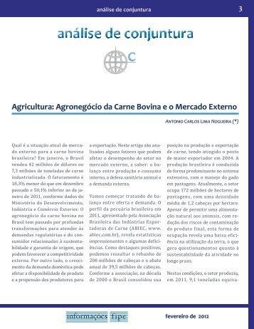 Agricultura: Agronegócio da Carne Bovina e o Mercado Externo - Fipe