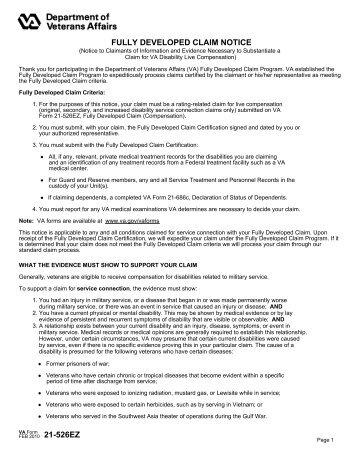 VA Form 21-526EZ - Aid and Attendance For Veterans