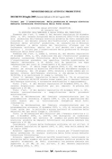 Decreto Ministeriale 28 luglio 2005 - Comune di Alatri