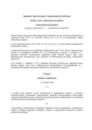 MISKOLC MEGYEI JOGÚ VÁROS KÖZGYŰLÉSÉNEK 29/2011. (X ...