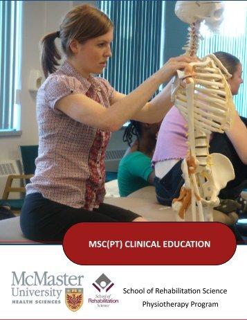 MSc PT Program Information Booklet (July 2013)
