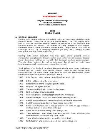 kloning - USU Library - Universitas Sumatera Utara