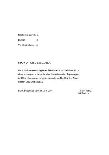 BGH 5 StR 189/07 Verwertung einer Beweistatsache nach ...