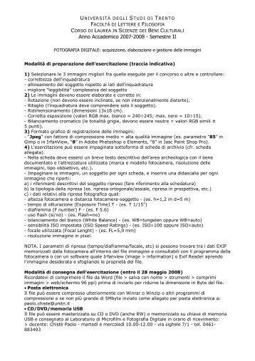 Esercitazione richiesta - UNITN - FACOLTA' di LETTERE E ...