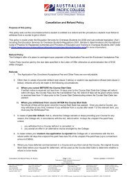 Cancellation and Refund Policy v6.1R - Australian Pacific College