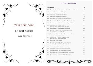 Carte Des Vins La Rôtisserie - Village Montana