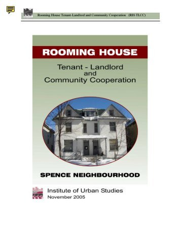 Rooming House Tenant-Landlord and Community Cooperation (RH ...