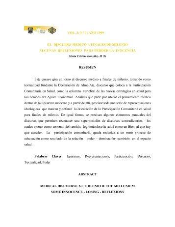 VOL. 3; N° 3: AÑO 1999 EL DISCURSO MEDICO A FINALES DE ...