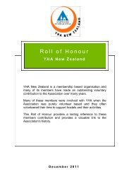 Roll of Honour - YHA New Zealand