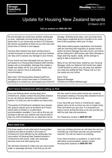 Update to Tenants Issue 6 - 22 March 2011 - Housing New Zealand
