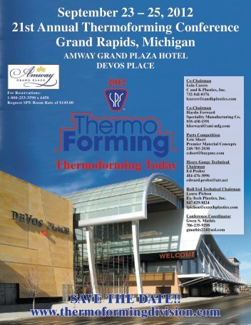 September 23 – 25, 2012 21st Annual Thermoforming Conference ...